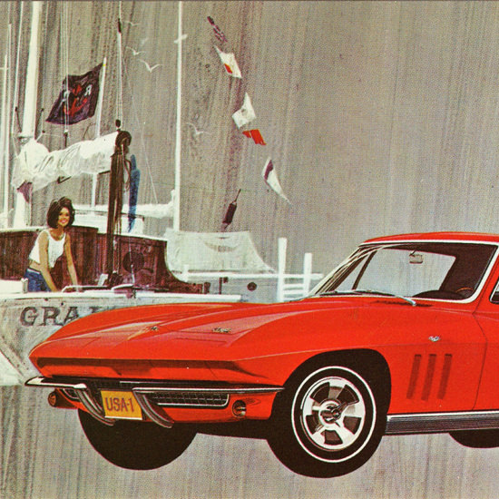 Detail Of Chevrolet Corvette Sting Ray Coupe 1966 | Best of Vintage Ad Art 1891-1970