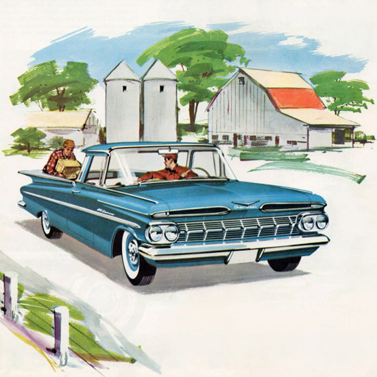 Detail Of Chevrolet El Camino Sedan Pick Up 1959 | Best of Vintage Ad Art 1891-1970