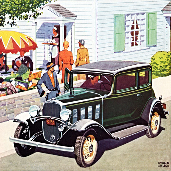 Detail Of Chevrolet Five P Coupe 1932 Green | Best of Vintage Ad Art 1891-1970