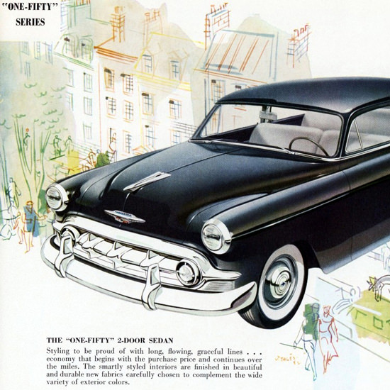 Detail Of Chevrolet One Fifty 1953 Styling To Be Proud | Best of Vintage Ad Art 1891-1970