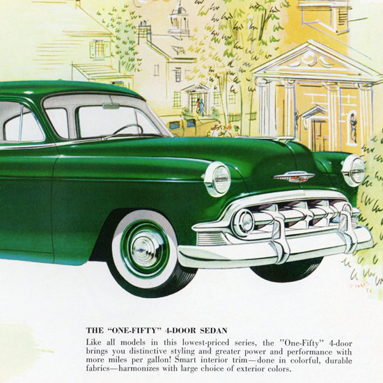 Detail Of Chevrolet One Fifty Series Sedan 1953 | Best of Vintage Ad Art 1891-1970
