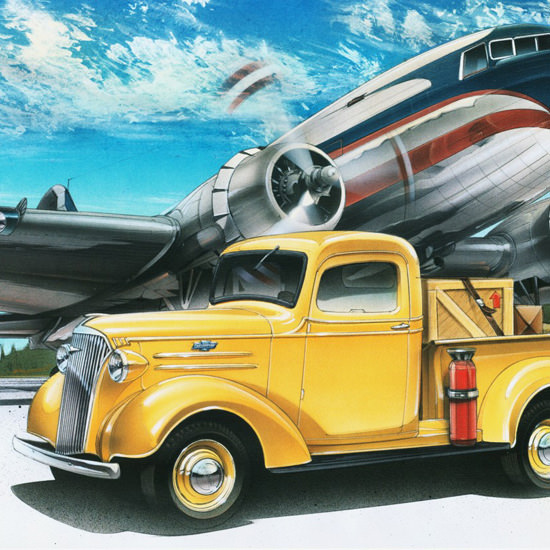 Detail Of Chevrolet Pickup 1937 Airport Airplane | Best of 1930s Ad and Cover Art