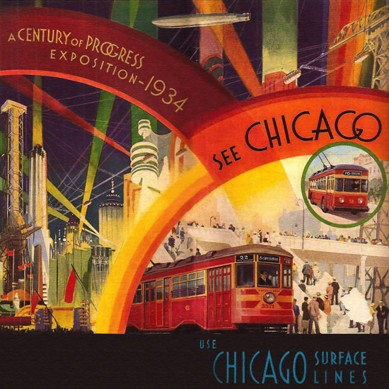 Detail Of Chicago Exposition 1934 A Century Of Progress | Best of Vintage Ad Art 1891-1970