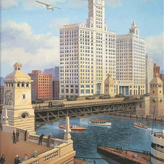 Detail Of Chicago Gray Goose Airlines Flights | Best of Vintage Ad Art 1891-1970