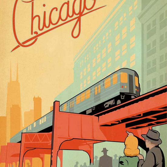Detail Of Chicago LTrain A Marvel Of Engeneering | Best of Vintage Ad Art 1891-1970
