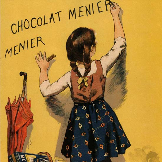 Detail Of Chocolat Menier Chile Chocolate Girl Writing 1893 | Best of Vintage Ad Art 1891-1970
