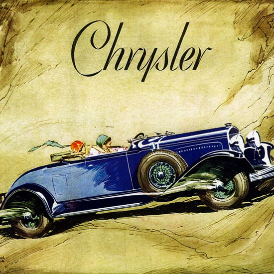Detail Of Chrysler 75 Roadster 1929 Modern Age by Fred Cole | Best of 1920s Ad and Cover Art