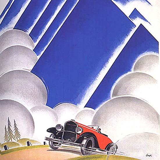 Detail Of Chrysler AMAG Zurich Switzerland Mountains | Best of Vintage Ad Art 1891-1970
