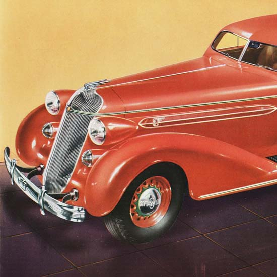 Detail Of Chrysler DeLuxe 8 Rumble Seat Coupe 1936 | Best of 1930s Ad and Cover Art