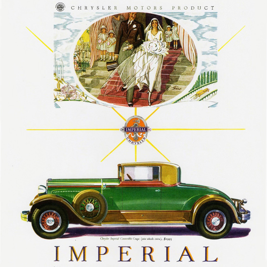 Detail Of Chrysler Imperial Convertible 1929 Wedding | Best of Vintage Ad Art 1891-1970