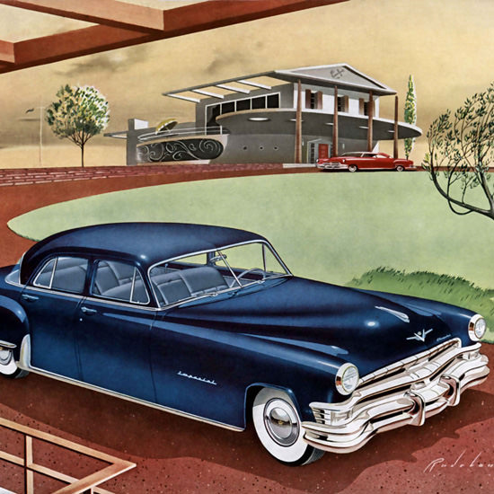 Detail Of Chrysler Imperial Six Passenger Sedan Blue 1951 | Best of Vintage Ad Art 1891-1970