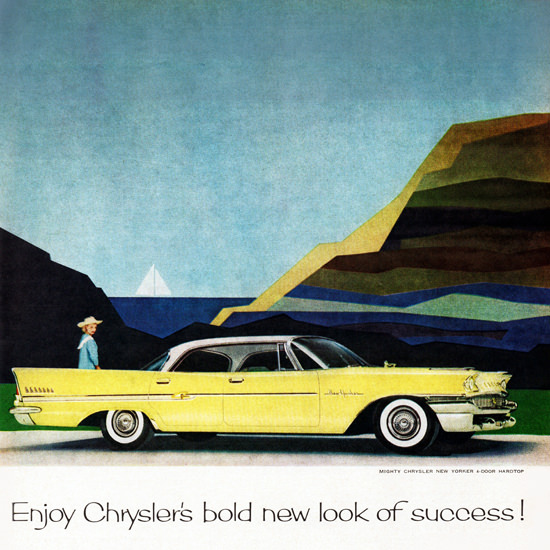 Detail Of Chrysler New Yorker 1958 Look Of Bold Success | Best of Vintage Ad Art 1891-1970