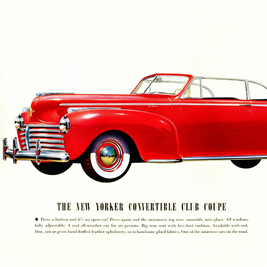 Detail Of Chrysler New Yorker Convertible Club 1941 | Best of Vintage Ad Art 1891-1970