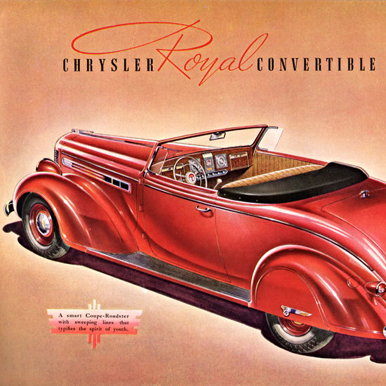 Detail Of Chrysler Royal Convertible Coupe 1938 | Best of Vintage Ad Art 1891-1970