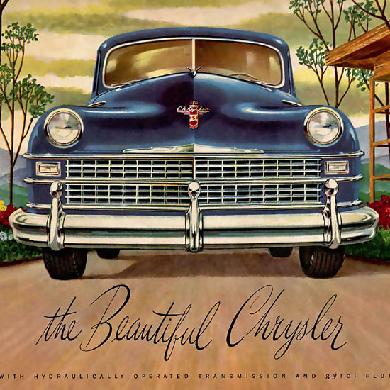 Detail Of Chrysler The Beautyful Fluid-Drive Blue | Best of Vintage Ad Art 1891-1970