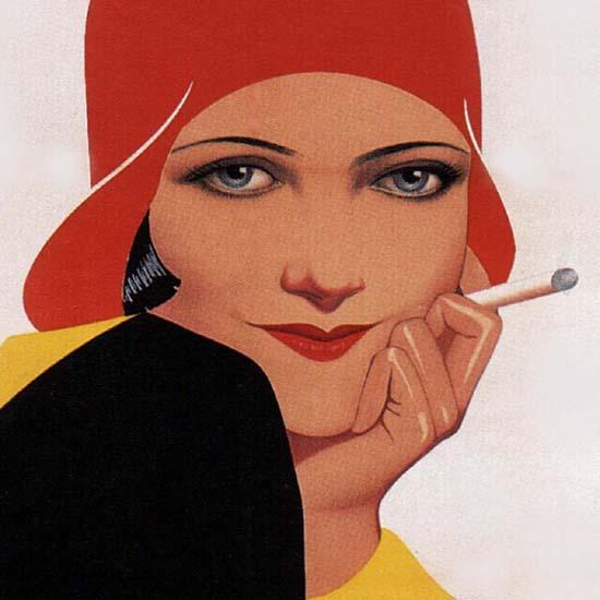 Detail Of Cigarettes Belga Girl Belgium B | Best of Vintage Ad Art 1891-1970