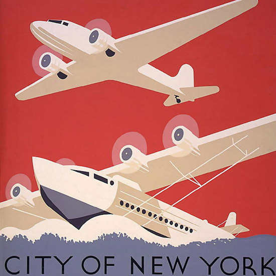 Detail Of City Of New York Municipal Airports F Bennett | Best of Vintage Ad Art 1891-1970