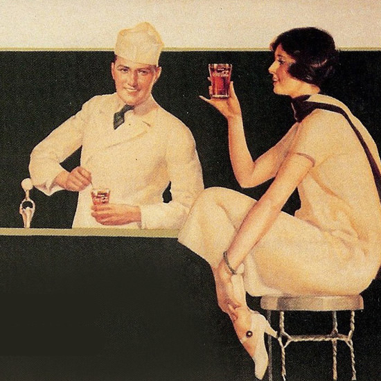 Detail Of Coca-Cola At A Cool And Cheerful Place | Best of Vintage Ad Art 1891-1970