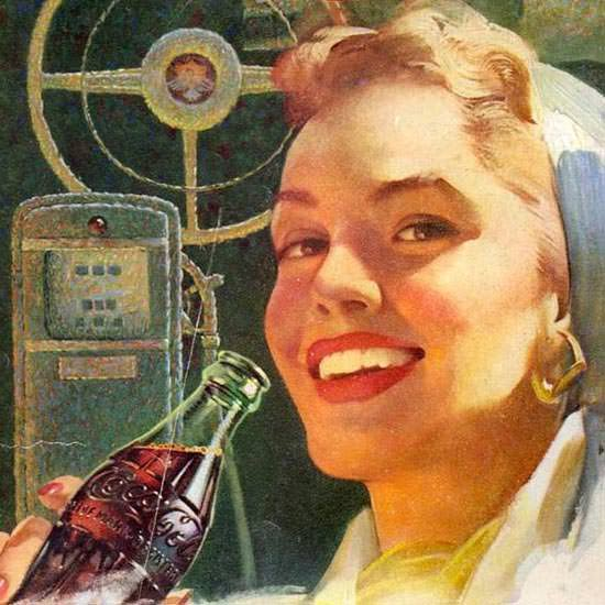 Detail Of Coca-Cola Drive Safely Girl 1953 | Best of Vintage Ad Art 1891-1970