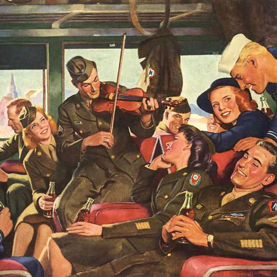 Detail Of Coca-Cola Everybody Is Happy Have A Coke | Best of Vintage Ad Art 1891-1970