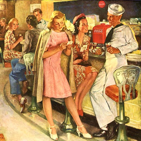 Detail Of Coca-Cola Flirt In The Bar So Glad To See You | Best of Vintage Ad Art 1891-1970