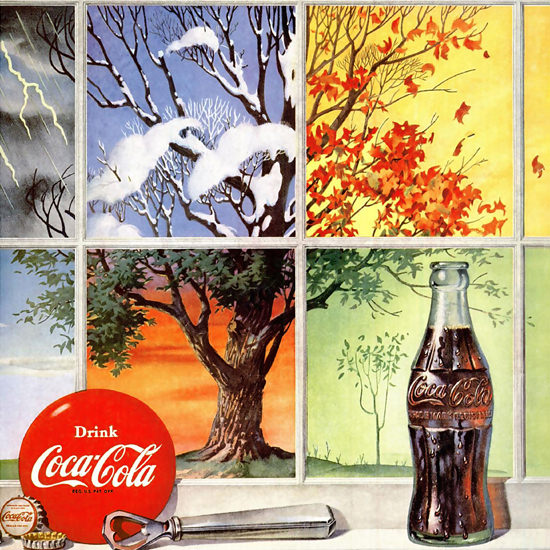 Detail Of Coca-Cola Four Seasons Thirst Knows No Season | Best of Vintage Ad Art 1891-1970