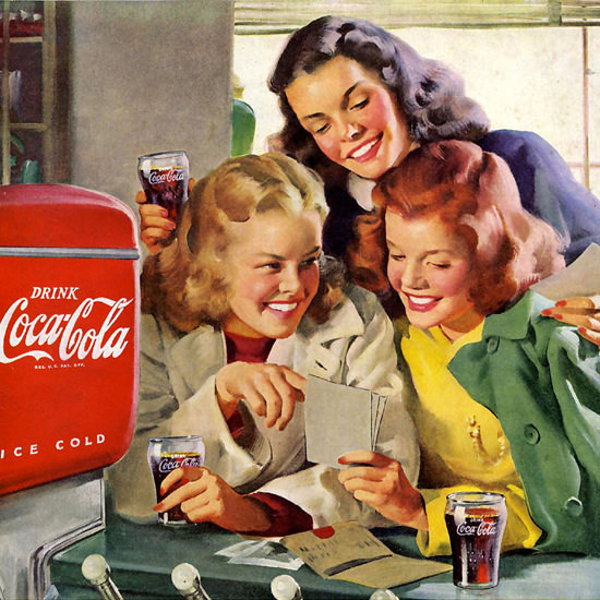 Detail Of Coca-Cola Girls Everybodys Club Coke 1948 | Best of 1940s Ad and Cover Art
