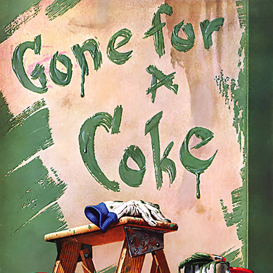 Detail Of Coca-Cola Gone For A Coke Painter | Best of Vintage Ad Art 1891-1970