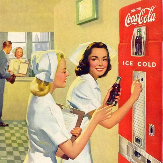 Detail Of Coca-Cola Hospital Nurses 1948 | Best of Vintage Ad Art 1891-1970