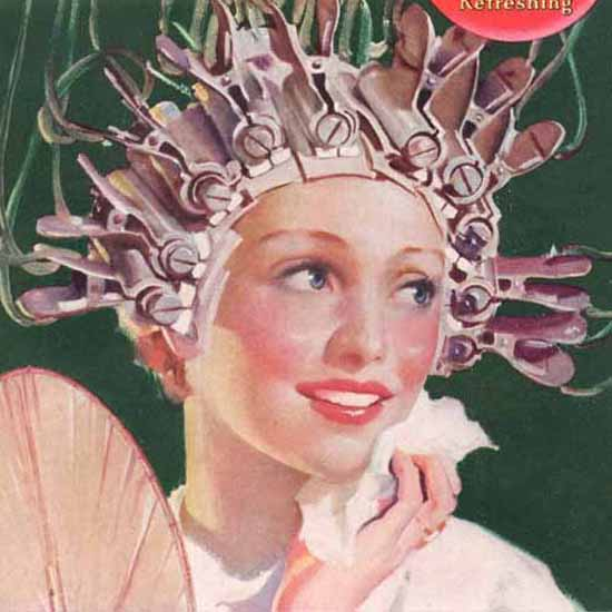Detail Of Coca-Cola Hot Girl Hair Roller For The Pause | Best of Vintage Ad Art 1891-1970