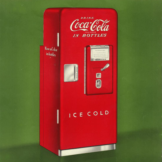 Detail Of Coca-Cola Ice Cold Refrigerator | Best of Vintage Ad Art 1891-1970