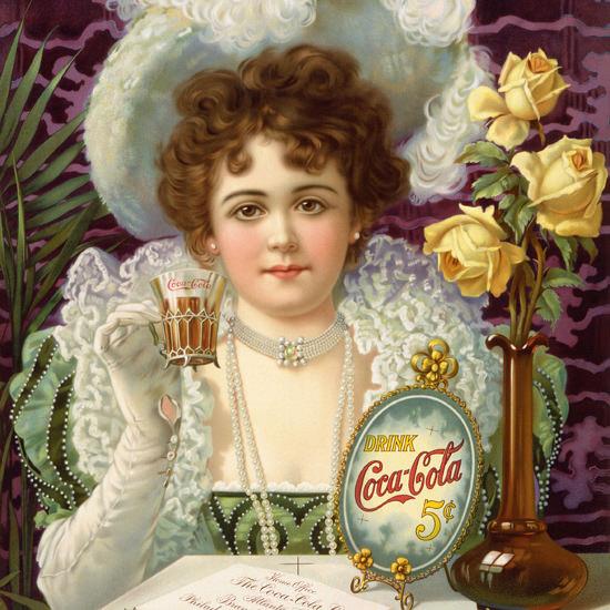 Detail Of Coca-Cola Lady Drink Coca-Cola 5 Cents Classic 1895 Hilda Clark | Best of Vintage Ad Art 1891-1970