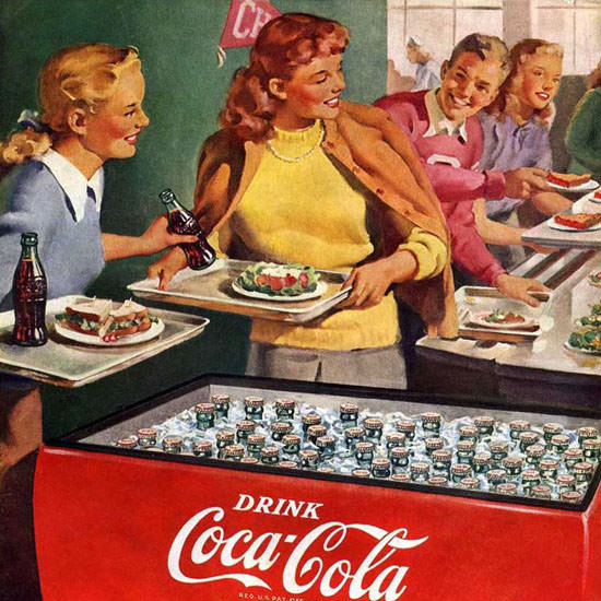 Detail Of Coca-Cola Lunch Refreshed Have A Coke | Best of Vintage Ad Art 1891-1970