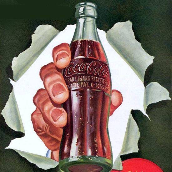 Detail Of Coca-Cola Quality Carries On Coke | Best of Vintage Ad Art 1891-1970