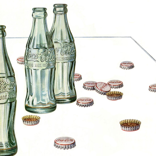 Detail Of Coca-Cola Bottle Caps Hospitality Can Be So Easy 1952 | Best of Vintage Ad Art 1891-1970