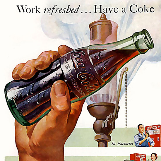 Detail Of Coca-Cola Work Refreshed Have A Coke | Best of Vintage Ad Art 1891-1970