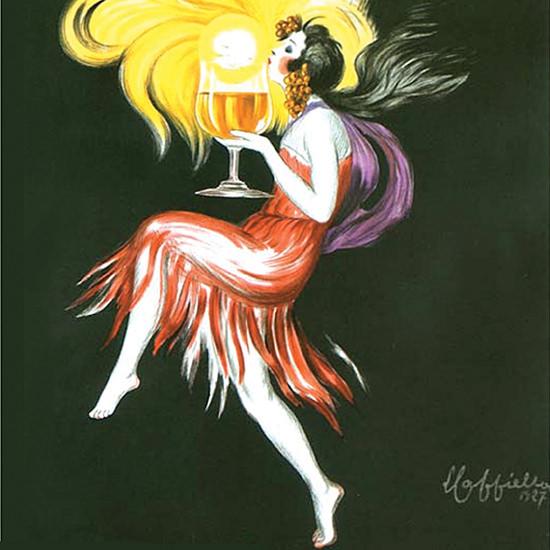 Detail Of Cognac Monnet Dancer Du Soleil Dans Un Verre 1927 | Best of Vintage Ad Art 1891-1970