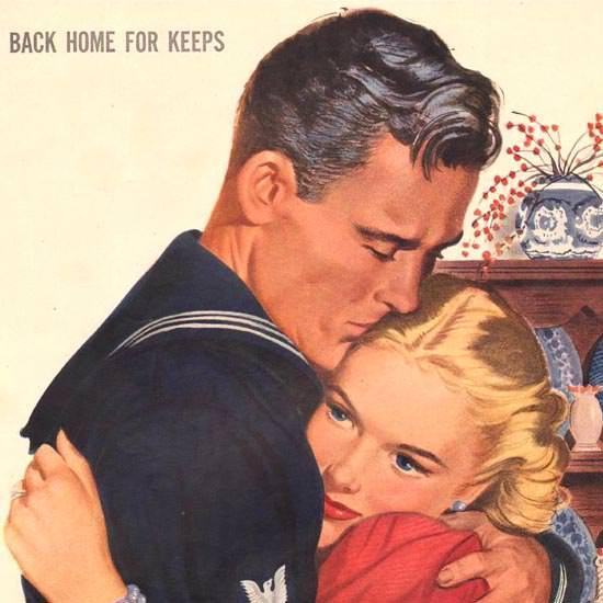 Detail Of Community Silverplate Back Home Keeps 1944 | Best of Vintage Ad Art 1891-1970