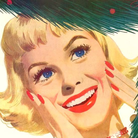 Detail Of Community Silverplate In Love Christmas 1953 | Best of 1950s Ad and Cover Art
