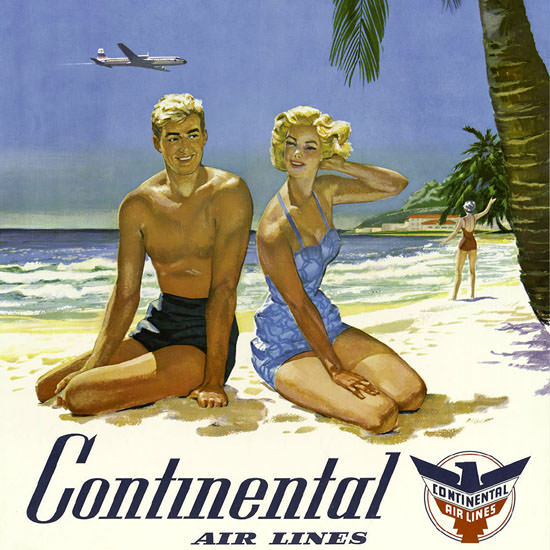 Detail Of Continental Air Lines Los Angeles 1960s | Best of Vintage Ad Art 1891-1970