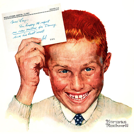 Detail Of Crest Toothpaste Look Mom No Cavities by Norman Rockwell | Best of Vintage Ad Art 1891-1970