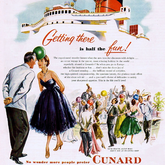 Detail Of Cunard From New York Getting There Is The Fun | Best of Vintage Ad Art 1891-1970