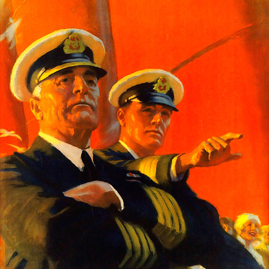 Detail Of Cunard Line Fastest Ocean Service Captain | Best of Vintage Ad Art 1891-1970