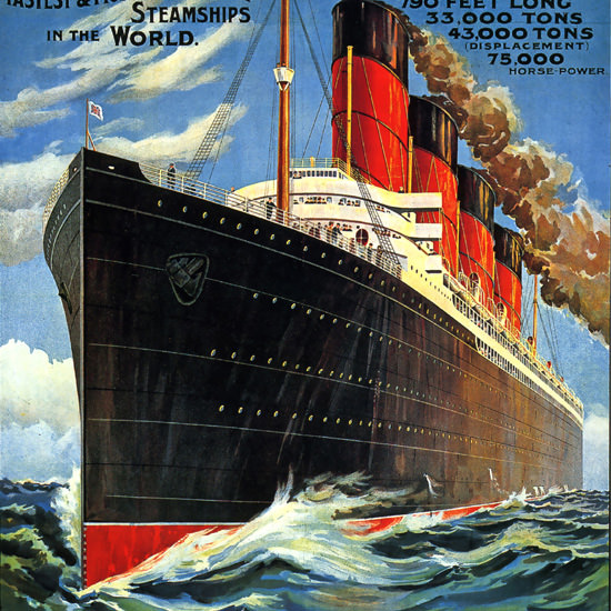 Detail Of Cunard Line Wonders Of Age Steam Ship 1940 | Best of 1940s Ad and Cover Art