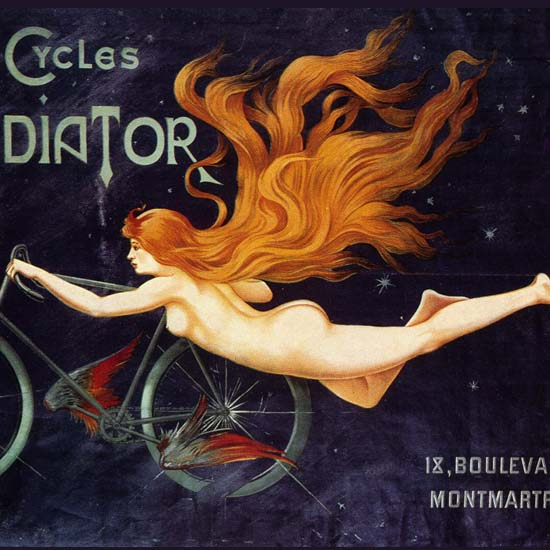 Detail Of Cycles Gladiator Nude Montmartre Paris Massias | Best of Vintage Ad Art 1891-1970