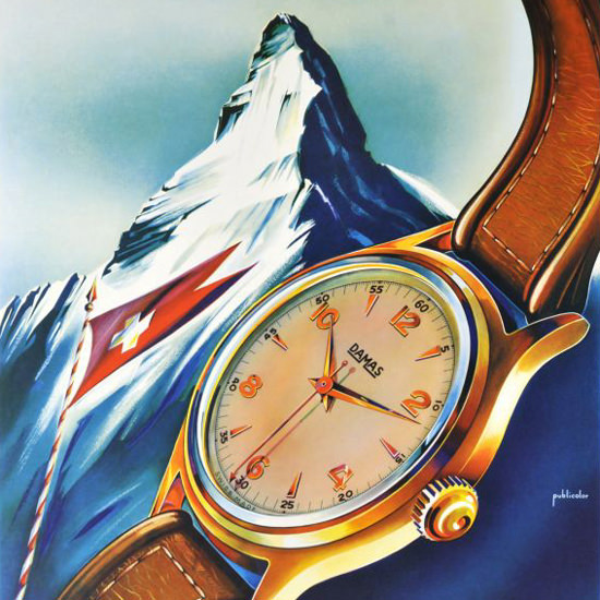 Detail Of Damas Watches Matterhorn Zermatt 1950s | Best of Vintage Ad Art 1891-1970