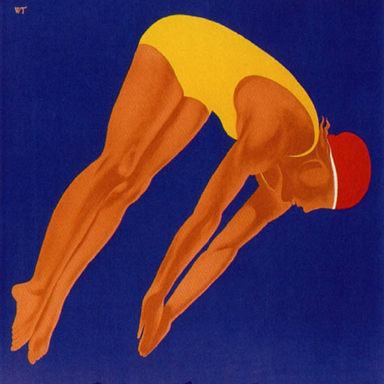 Detail Of Davos Strandbad Switzerland 1933 Willy Trapp | Best of Vintage Ad Art 1891-1970