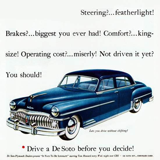 Detail Of DeSoto Custom Sedan 1950 No Fooling | Best of Vintage Ad Art 1891-1970