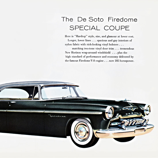 Detail Of DeSoto Firedome 185 HP Special Coupe 1955 | Best of Vintage Ad Art 1891-1970