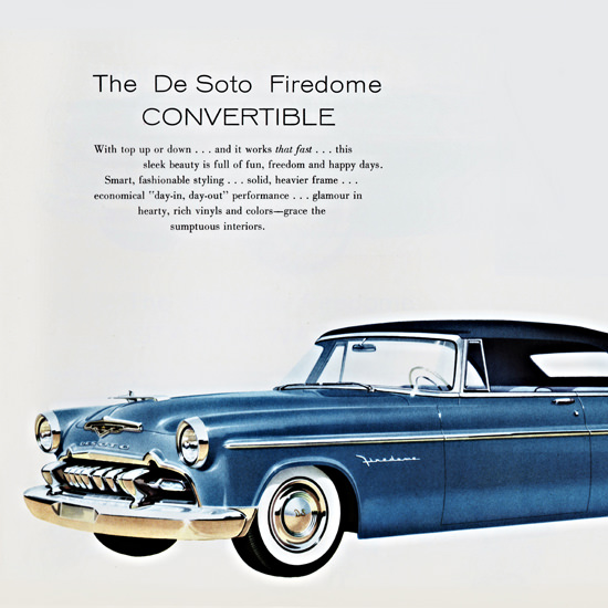 Detail Of DeSoto Firedome Convertible 1955 Day In Out | Best of Vintage Ad Art 1891-1970